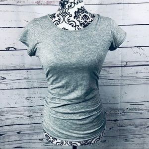 Theory Ruched Side Grey Cotton T-Shirt XS